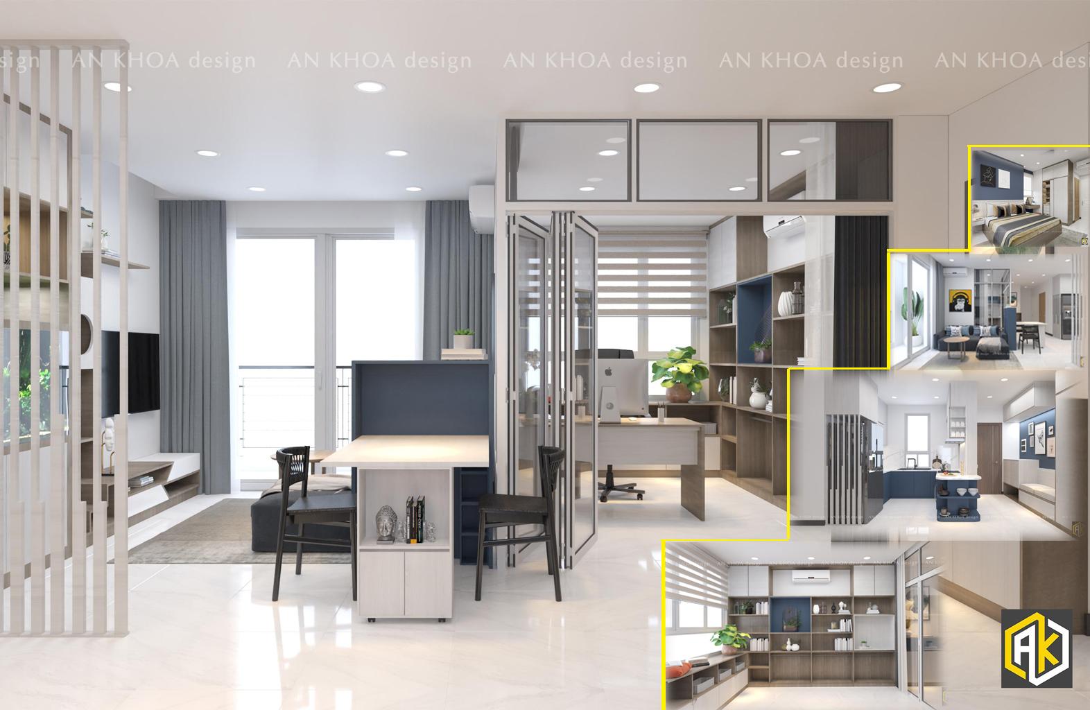 Thiết kế nội thất căn hộ chung cư 75m2 2 phòng ngủ