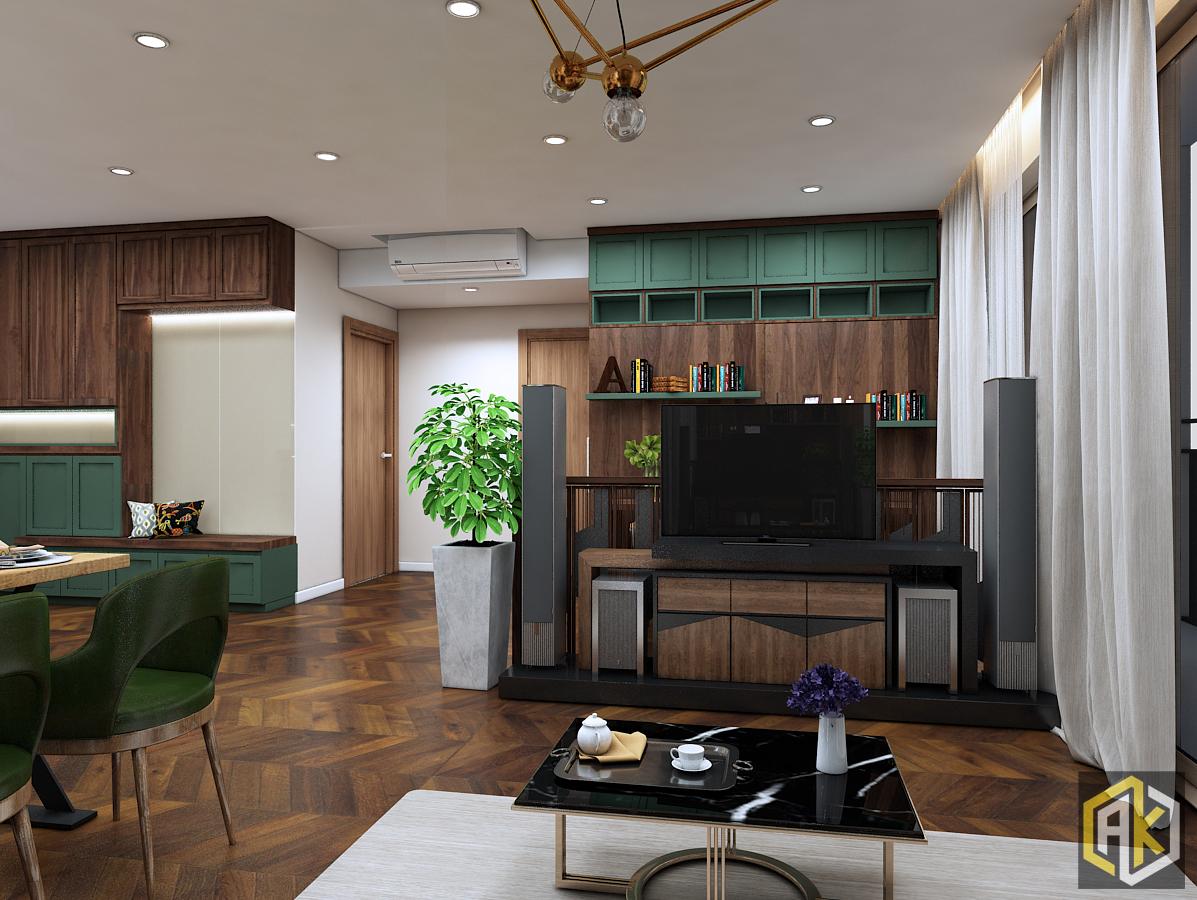 mẫu thiết kế nội thất phòng khách theo phong cách mộc