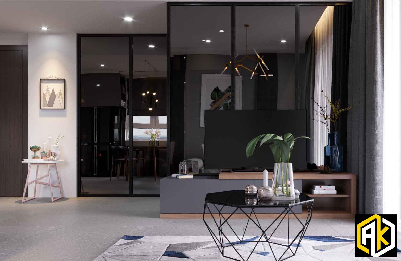 Thiết kế nội thất căn hộ Botanica 72m2 - Phòng khách